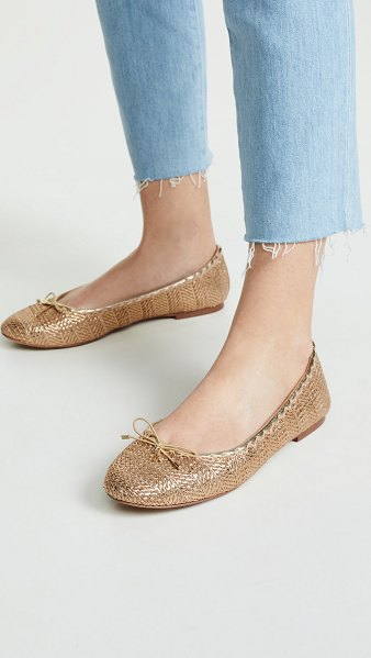 Sam Edelman falcon 2 flats in gold stripe - Fabric: Textured metallic weave Logo charm at top Suede...