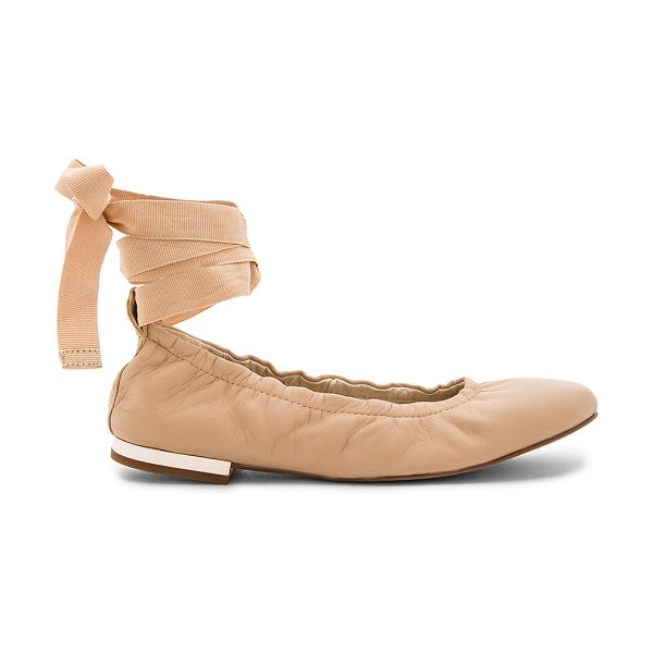 Sam Edelman Fallon Ballet Flat in nude - Leather upper with man made sole. Wrap ankle with tie...