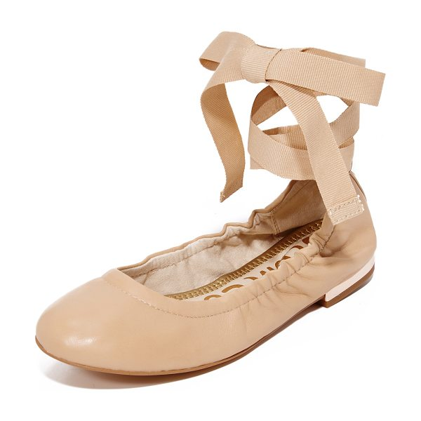 Sam Edelman fallon lace up ballet flats in nude linen - Supple leather Sam Edelman ballet flats with a sleek,...