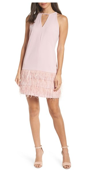 Sam Edelman feather hem shift dress in pink - A hem of faux feathers adds sassy movement to this...