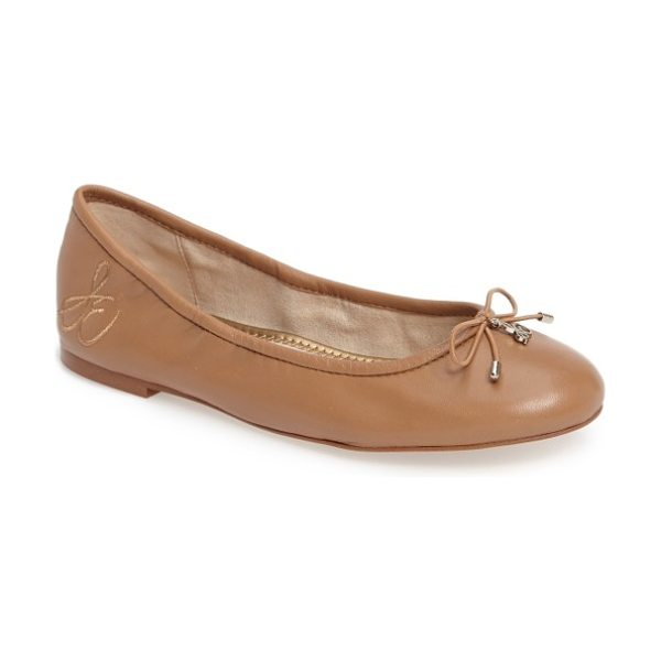 Sam Edelman 'felicia' flat in golden caramel leather - A delicate logo charm adorns the bow-trimmed toe of a...