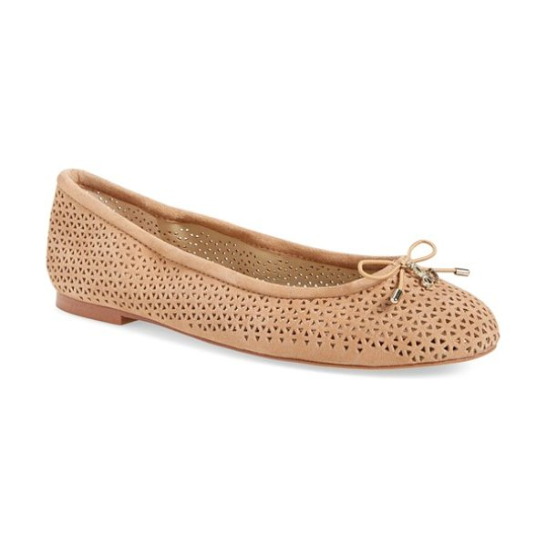 Sam Edelman 'felicia' perforated flat in taupe rose suede - A delicate logo charm adorns the bow-trimmed toe of a...