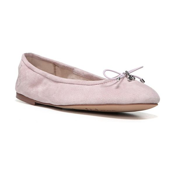 Sam Edelman 'felicia' flat in pearl pink suede - A delicate logo charm adorns the bow-trimmed toe of a...