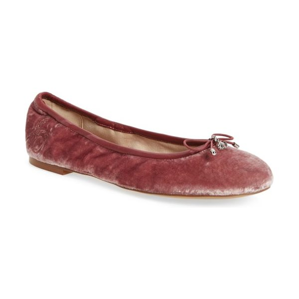 Sam Edelman 'felicia' flat in faded rose - A delicate logo charm adorns the bow-trimmed toe of a...