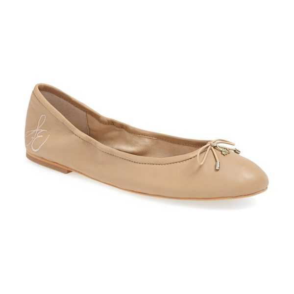 Sam Edelman felicia flat in classic nude leather - A delicate logo charm adorns the bow-trimmed toe of a...