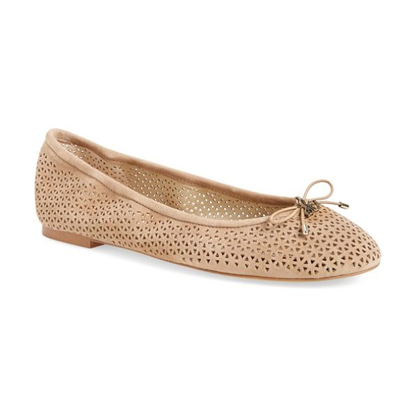 Sam Edelman 'felicia' flat in oatmeal perforated - A delicate logo charm adorns the bow-trimmed toe of a...