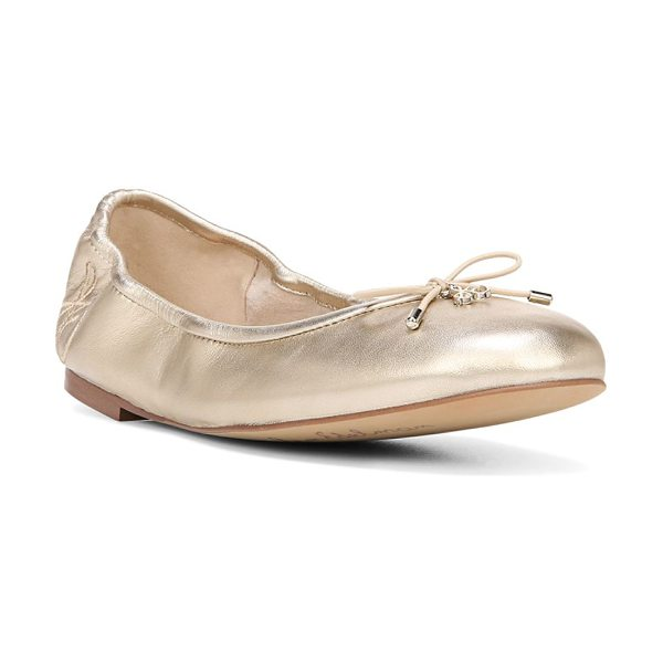 Sam Edelman felicia leather ballet flats in molton gold - Leather ballet flats in a trend-right metallic finish....