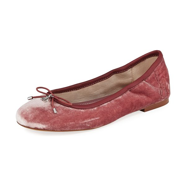 Sam Edelman Felicia Velvet Ballerina Flat in pink - Sam Edelman ballerina flat in silky velvet with leather...
