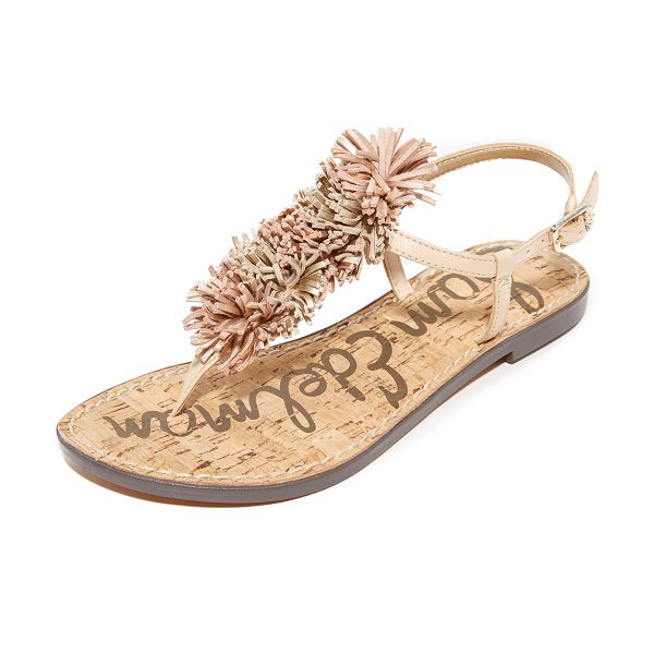 SAM EDELMAN gates fringe sandals in natural naked/gold - Playful pom-poms trim the T-strap on these Sam Edelman...