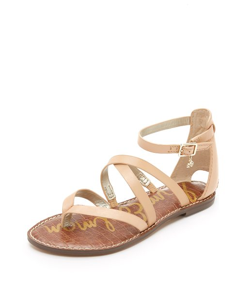 Sam Edelman Gilroy Flat Sandals in natural naked - Slim straps crisscross these smooth leather Sam Edelman...