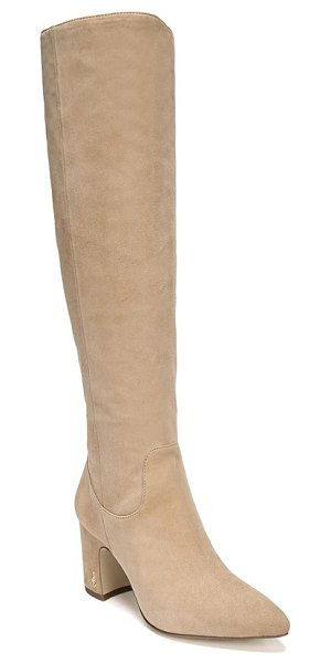 Sam Edelman hai knee high boot in beige - Signature hardware at the chunky, curved heel and pull...