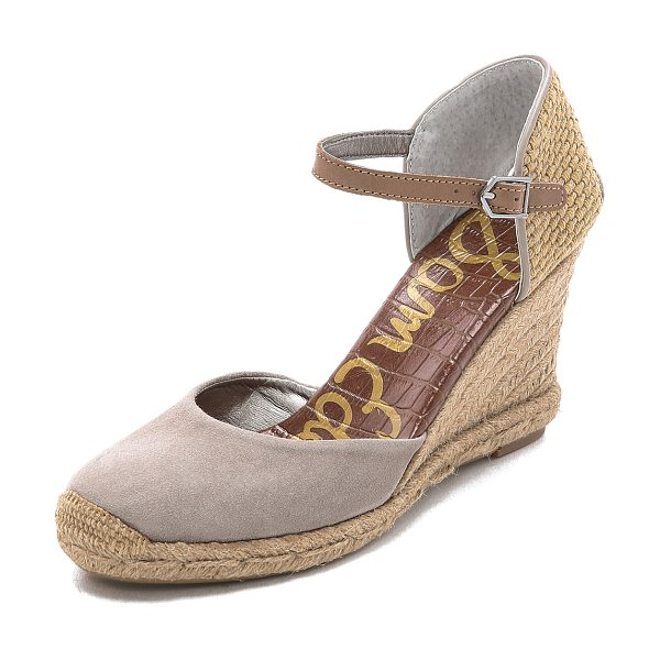 SAM EDELMAN Harmony espadrille wedges - A leather vamp plays against the woven, cutout heel on...