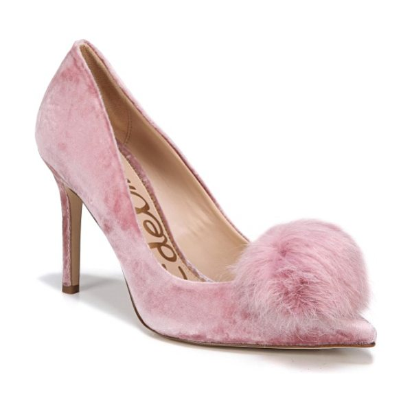 Sam Edelman haroldson pump with faux fur pompom in faded rose velvet - A fluffy faux-fur pompom amps up the playfulness of a...