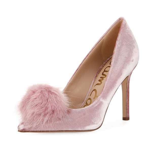 "Sam Edelman Haroldson Velvet Pompom Pump in faded rose - Sam Edelman soft velvet pump. 4"" covered stiletto heel...."