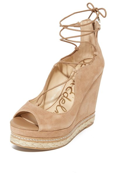Sam Edelman harriet wedges in golden caramel - Layers of braided jute and cork trim add natural style...