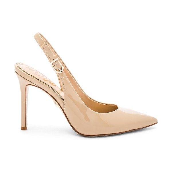 """Sam Edelman Hastings Heel in beige - """"Patent leather upper with man made sole. Slingback..."""