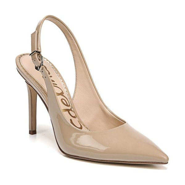 Sam Edelman hastings slingback pump in classic nude patent leather - A slender heel provides a poised finishing touch for a...
