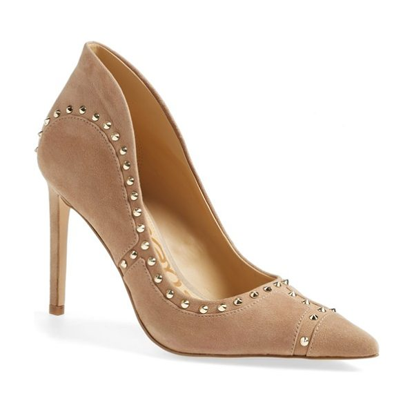 Sam Edelman hayden pointy toe pump in oatmeal suede - Gleaming goldtone spikes and artistic piecing...