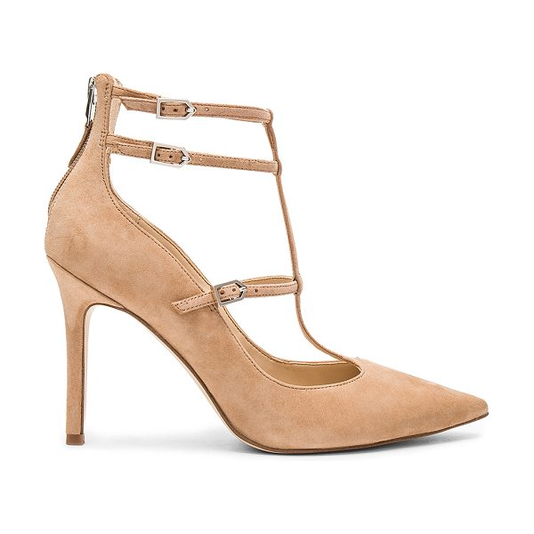 Sam Edelman Hayes Heel in tan - Suede upper with man made sole. Back zip closure. Side...