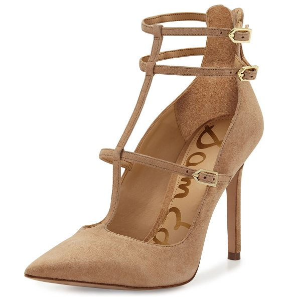 "SAM EDELMAN Hayes Suede Caged Pointed-Toe Pump in golden caramel - Sam Edelman kid suede pump. 3.8"" covered heel. Pointed..."
