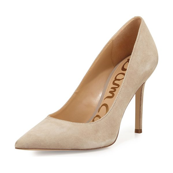 "SAM EDELMAN Hazel Pointed-Toe Suede Pump - Sam Edelman suede pump. 3.8"" covered heel. Pointed toe...."