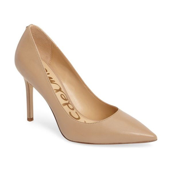 Sam Edelman hazel pointy toe pump in nude leather - A classic stiletto adds leg-lengthening lift and...