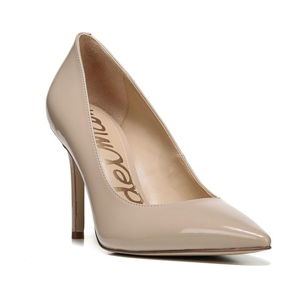 Sam Edelman hazel pointy toe pump in nude linen patent leather - A classic stiletto adds leg-lengthening lift and...