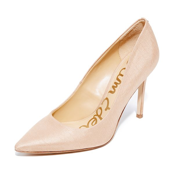 Sam Edelman hazel silk dupioni pumps in nude - Silk dupioni adds unique texture to these pointed-toe...
