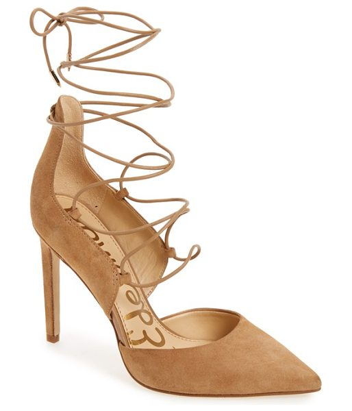 SAM EDELMAN 'helaine' ghillie pointy toe pump - Slender ghillie-inspired lacing trellises up the curvy...
