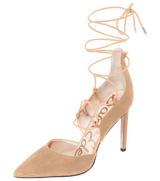 Sam Edelman helaine lace up pumps in golden caramel - Suede Sam Edelman pumps styled with a sculpted top line...