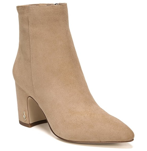 Sam Edelman hilty bootie in golden caramel suede - A dramatically pointed toe and curved vamp distinguish a...