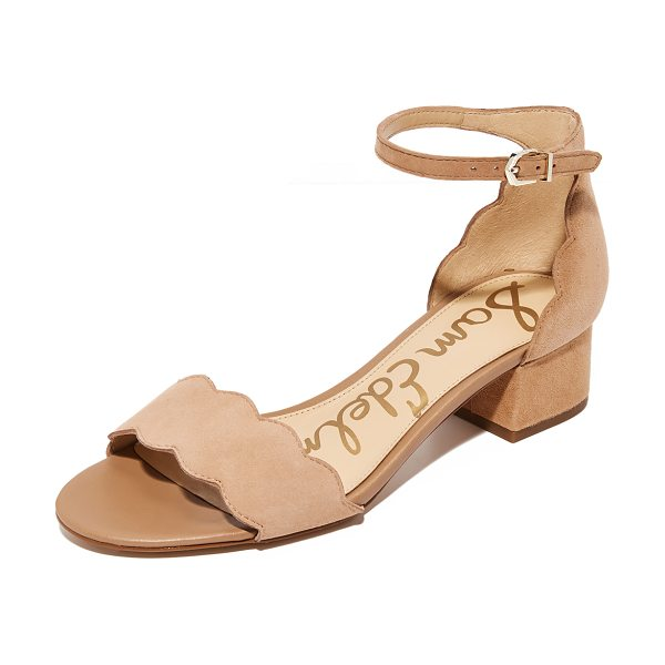 Sam Edelman inara city sandals in golden caramel - Scalloped edges adds a feminine touch to these suede Sam...