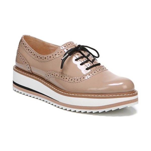 Sam Edelman jinelle oxford in blush/ nude patent leather - Borrowed-from-the-boys brogueing pairs with a sporty...
