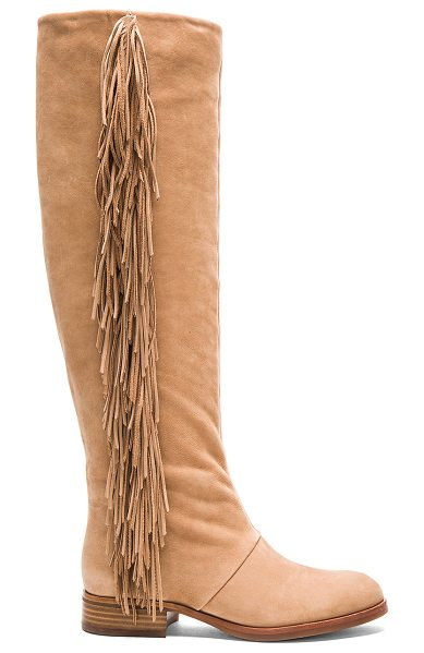 Sam Edelman Josephine boot in taupe - Suede upper with rubber sole. Fringe detail. Shaft...