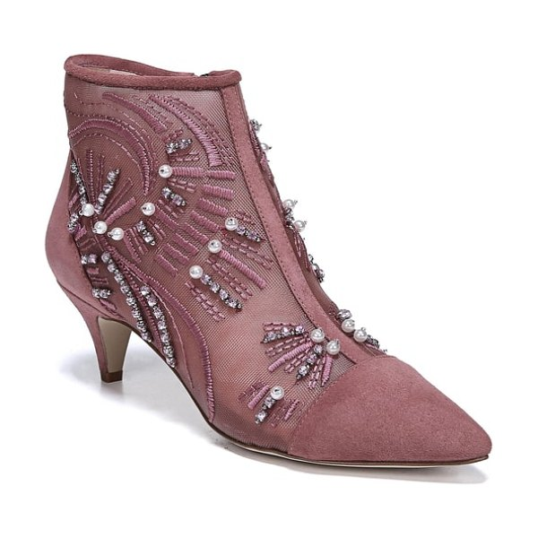 Sam Edelman kami bootie in misty rose suede - Glittering embellishments and silky stitching curl and...
