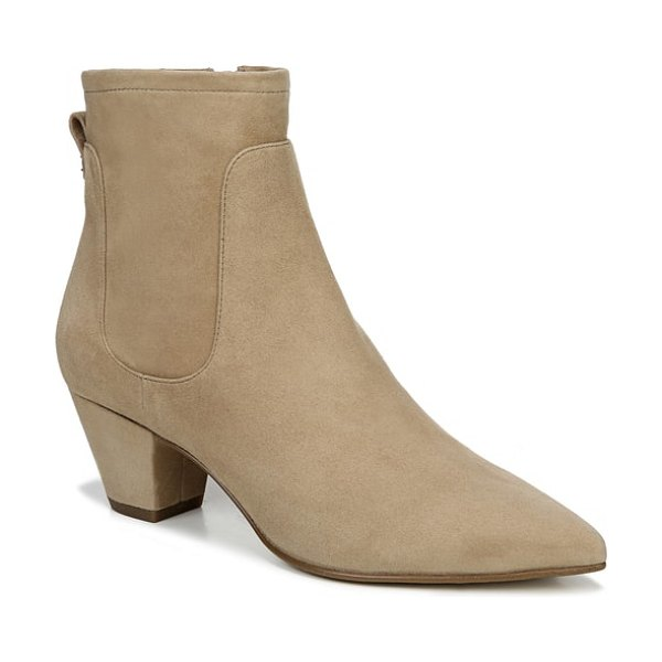 Sam Edelman karlee bootie in golden caramel suede - A slender pointed toe calls attention to an eye-catching...