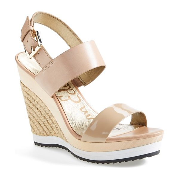Sam Edelman korinne wedge sandal in classic nude patent/ leather - A contrast platform sole and mixed media straps update...