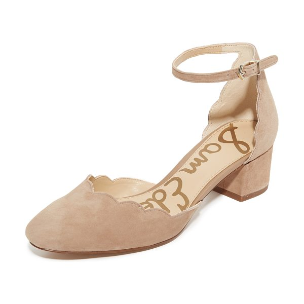 Sam Edelman lara mary jane heels in golden caramel - A scalloped top line adds a feminine touch to these...