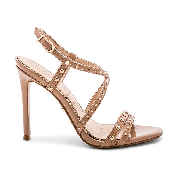 """Sam Edelman Lennox Heel in tan - """"Patent man made upper with man made sole. Gold tone..."""