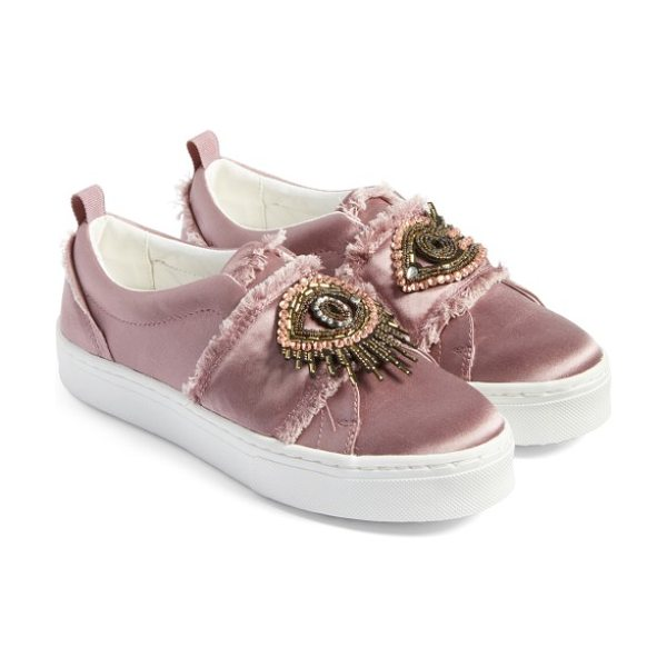 Sam Edelman levine sneaker in pearl pink satin - Intricate beading adds a flash of vintage glamour to...