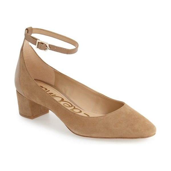 Sam Edelman lola ankle strap pump in oatmeal suede - A smooth leather ankle strap and heel panel subtly...