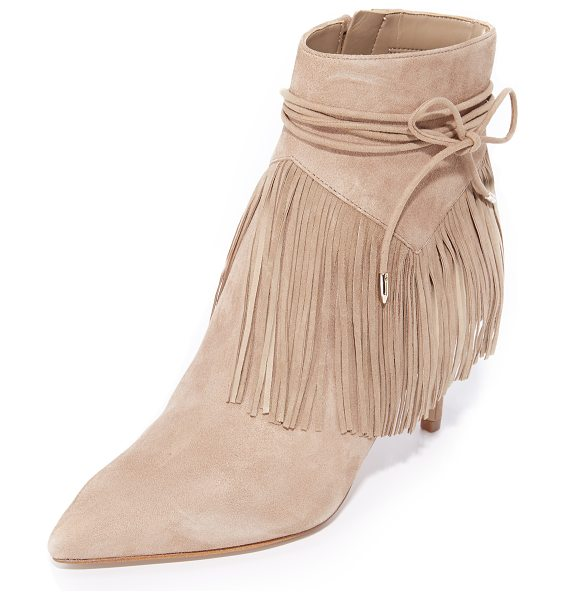 Sam Edelman marion fringe booties in oatmeal - Soft fringe and slim wraparound ties accent the cuff on...