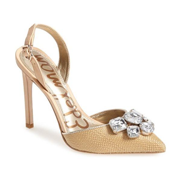 Sam Edelman mark slingback pointy toe pump in natural/ naked - Chunky, oversized crystals pretty up the pointy toe of a...