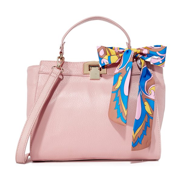 Sam Edelman melanie top handle bag in rose shadow - A knotted scarf adds a splash of color to this pebbled...