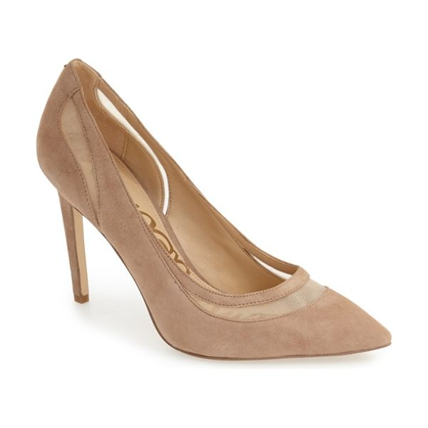 Sam Edelman 'nixon' pointy toe pump in oatmeal suede - Crafted of lush suede, this dramatic pointy-toe pump...