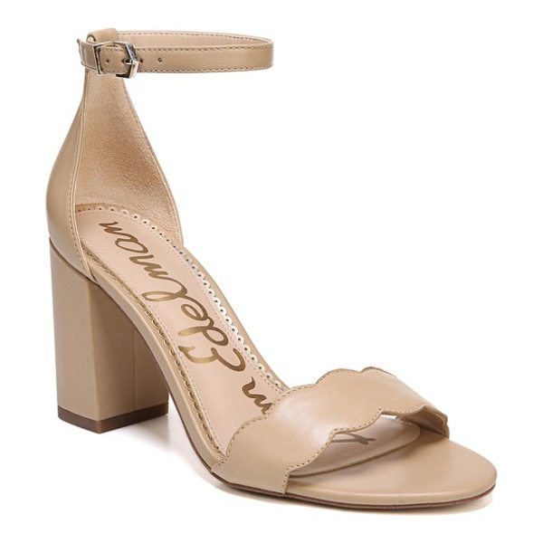Sam Edelman odila sandal in classic nude leather - A scalloped strap at the toe defines the barely-there...