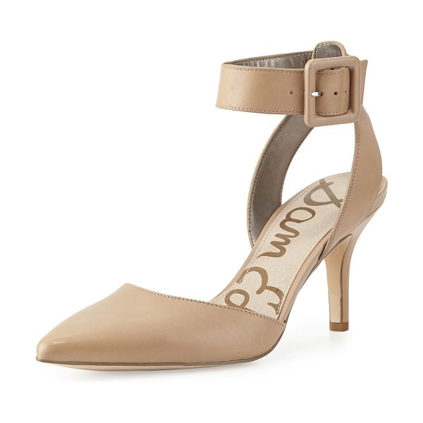 "Sam Edelman Okala Leather Ankle-Wrap Pump in classic nude - Sam Edelman calf leather pump. 3"" covered heel. Pointed..."
