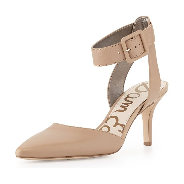 "Sam Edelman Okala Pointy Ankle-Wrap Pump in nude - Sam Edelman smooth leather pump. 2 3/4"" covered heel...."
