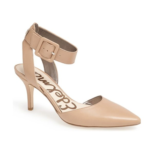 Sam Edelman okala pump in classic nude leather - A bold ankle-wrap strap lends saucy sophistication to an...