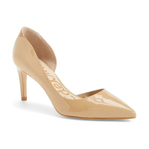 Sam Edelman onyx half dorsay pointy toe pump in almond patent leather - Eye-catching accents with textural contrast set these...